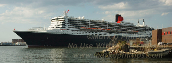 Queen Mary 2 leaves the Brooklyn Cruise Terminal in Buttermilk Channel by Red Hook.