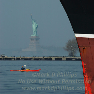 QM2 Bow with Statue and kayak