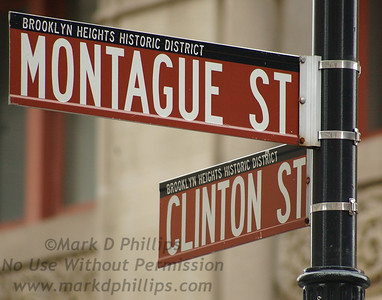 Montague Street and Clinton Street signs in Brooklyn Heights