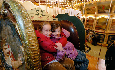 Eliza Phillips and Alice Tillman on Jane's Carousel in DUMBO, Brooklyn, in building before move to the waterfront.