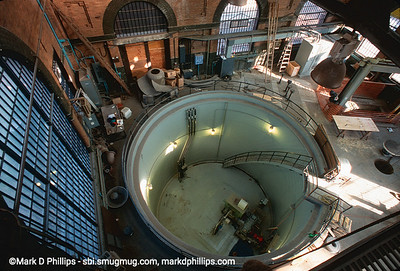 Inside the Pump House at the head of the Gowanus Canal at Baltic Street in Brooklyn in 1999, during the city-led 1999 cleanup effort that involved repairs to the flushing tunnel and a partial dredging at the head of the waterway. The results were immediate with an increase in fish and wildlife.
