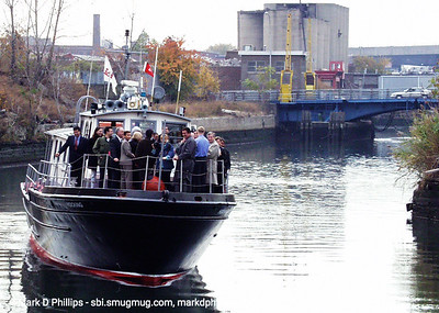 Boat tours on the Gowanus Canal with Buddy Scotto, NY Assemblywomen Joan Millman, and US Congresswoman Nydia Valesquez above the Carroll Street Bridge.