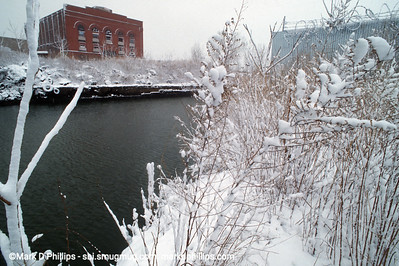 Gownaus Canal with Batcave, Powerhouse Arts future building, in the snow
