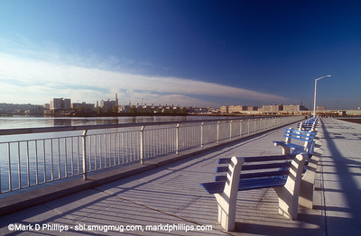 Gowanus Bay Promenade at end of Columbia Street in Red Hook. The Gowanus Canal feeds into the bay before exiting into New York Harbor.