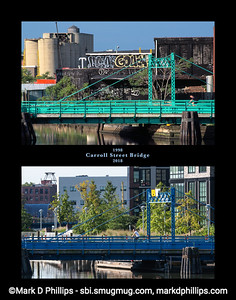 Gowanus Canal poster showing the Carroll Street Bridge from the same spot 20 years apart. The canal is located in some of the highest price real estate in America.