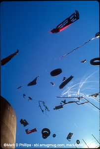Whimsical art installation from the top of the silo on David Lefkowitz' property beside the Gowanus Canal at the Carroll Stree Bridge in 1998.