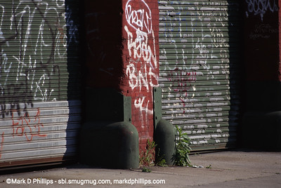 Graffitti covered Loading Dock by Gowanus Canal in Brooklyn, NY