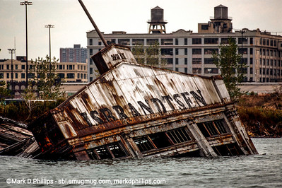 IS Brandtsen pier collapsed into Gownaus Bay at the end of the Gowanus Canal in Brooklyn, NY. American Export-Isbrandtsen Lines, New York, was the leading US-flag shipping company between the U.S. east coast and the Mediterranean from 1919 to 1977