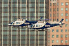 NYPD Aviation Unit made a formation pass up the Hudson prior to the fireworks show.
