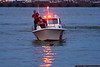 Hoboken Fire Department boat helping to rescue a dog in the Hudson River.