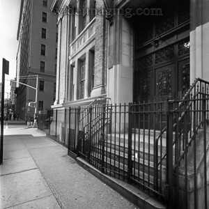 Washington Irving High School, on the 16th Street entrance side, looking toward Irving Place, from September 1978.