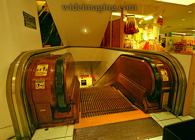 Wooden escalator in Macy's 34th Street store, still found in the upper floors, July 2006.