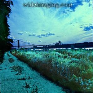 George Washington Bridge from the Hudson near Dyckman Street, July 3 1975.