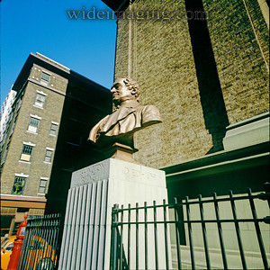 Washington Irving High School, Irving Place & East 17th Street, from September 1978. A bust of Washington Irving by Friedrich Beer was placed in front of the building in 1935.The cornerstone is dated 1910 for what was at the time the only girls high school in Manhattan.