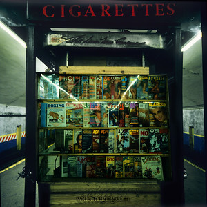 News stand on the No. 7 Grand Central Station subway platform, from March 1981.