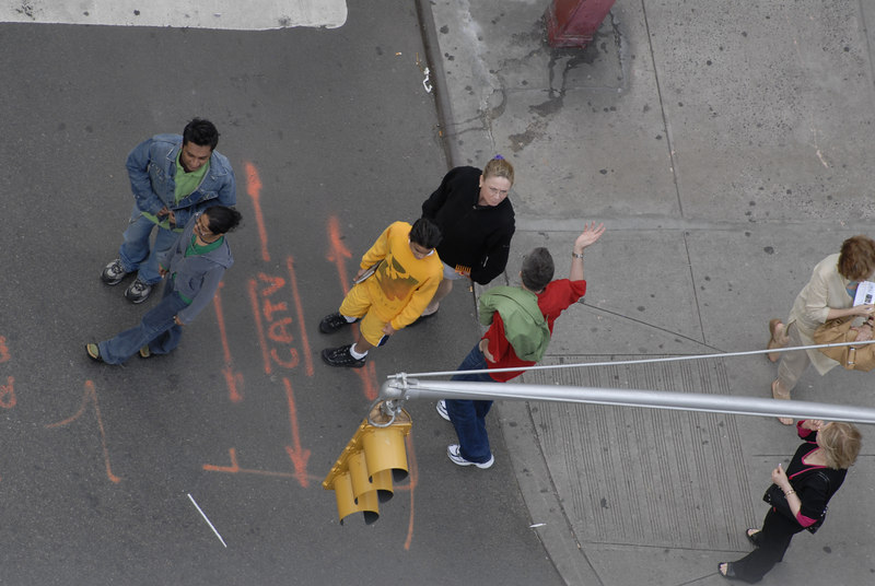 Pedestrians from  220 feet above 15th and 7th