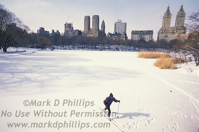 A solitary cross country skier crosses the lake in Central Park after a blizzard.