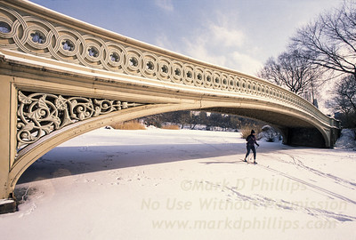 A lone cross country skier passes under the Bow Bridge on the lake in Central Park in New York City.