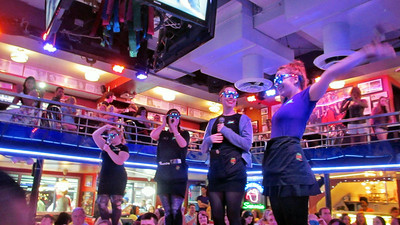 Scott Johnson works at this restaurant Ellen's Stardust Diner where the wait staff also perform and entertain the diners.