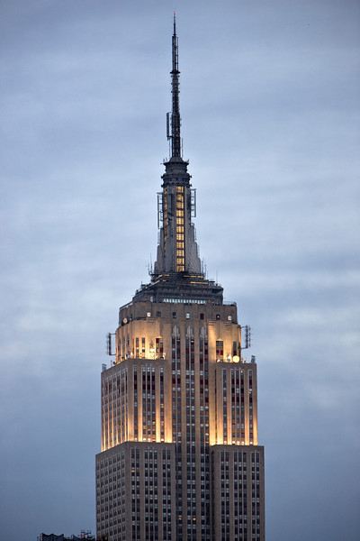 Empire State Building shot at dusk hand held using the Canon 1Ds Mark III 280mm from my roof<br /> Mark