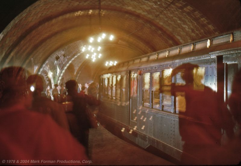 City Hall Station NYC on the IRT in 1978 on a Fan Trip using Antique Lo V Subway Cars