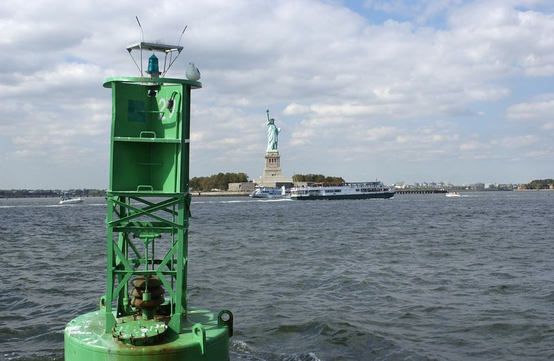 Buoy and Statue of Liberty