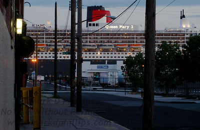 Queen Mary 2 on her first night in Red Hook Brooklyn at the new Brooklyn Cruise Terminal