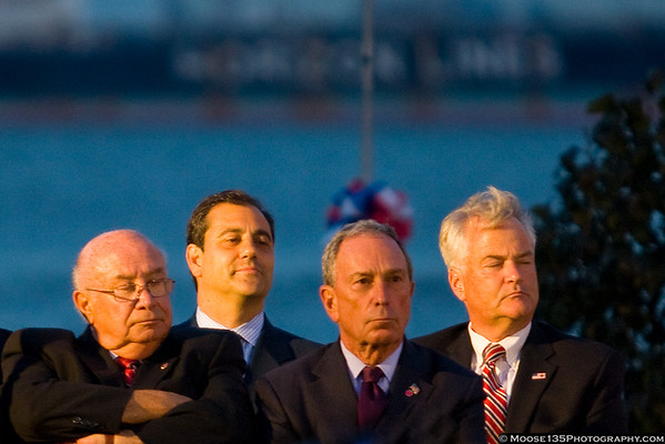 A memorial service was held at the Staten Island September 11 Memorial.  Speakers included Mayor Bloomberg, Staten Island Borough President James Molinaro, and Fire Commissioner Salvatore Cassano. Molinaro (far left) and Bloomberg (second from right) during the ceremony.