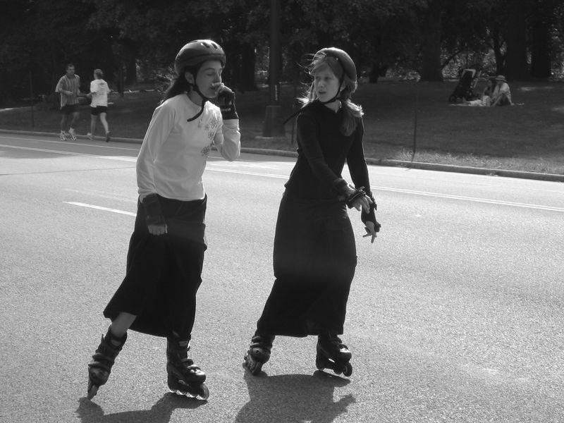 Girls on roller-blades
