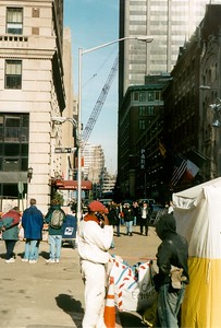 Con-Ed crew with WTC fragment in background