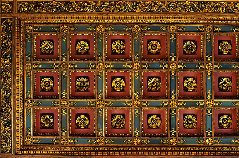 Elaborate roof decorations on the ceiling at the Main Branch of the New York Public Library on 42nd Street, Manhattan, New York City.  The Stephen A. Schwarzman Building, commonly known as the Main Branch or the New York Public Library, is the flagship building in the New York Public Library system and a landmark in Midtown Manhattan, New York City.