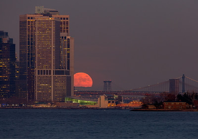 Moon Rising over Brooklyn Bridge