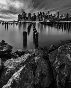 Rock Pier City B&W