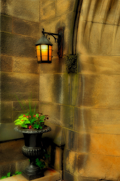 Old Light Fixture on church wall, NYC