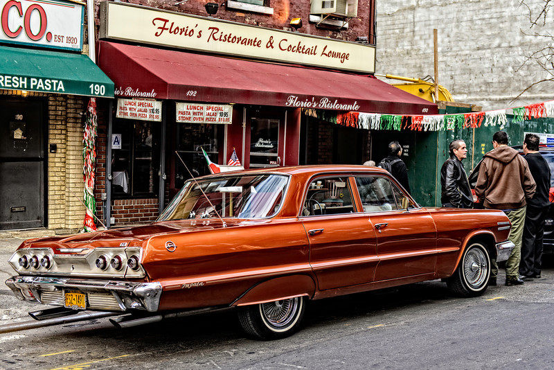 classic car, classic street scene, Little Italy, New York City - full color version