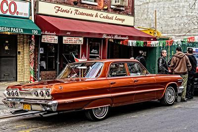 classic car, classic street scene, Little Italy, New York City - full color version