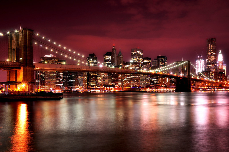 Red Sky Over Brooklyn Bridge