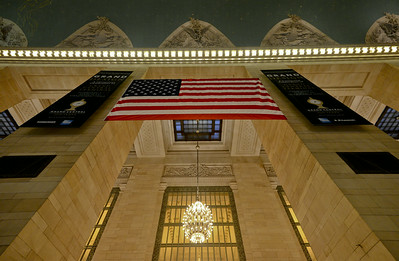 Grand Central with flag