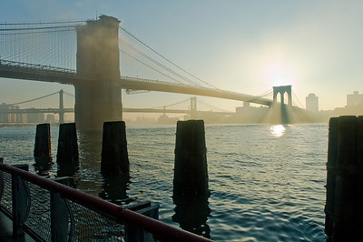 Brooklyn and Manhattan Bridges in morning light
