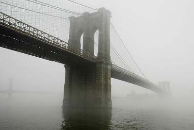 Brooklyn Bridge in morning fog