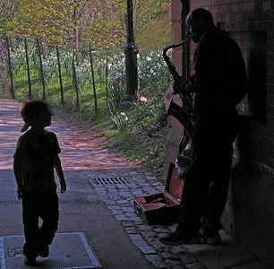Steet musician & fan, Central Park, New York City