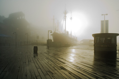 South Street Seaport in morning fog