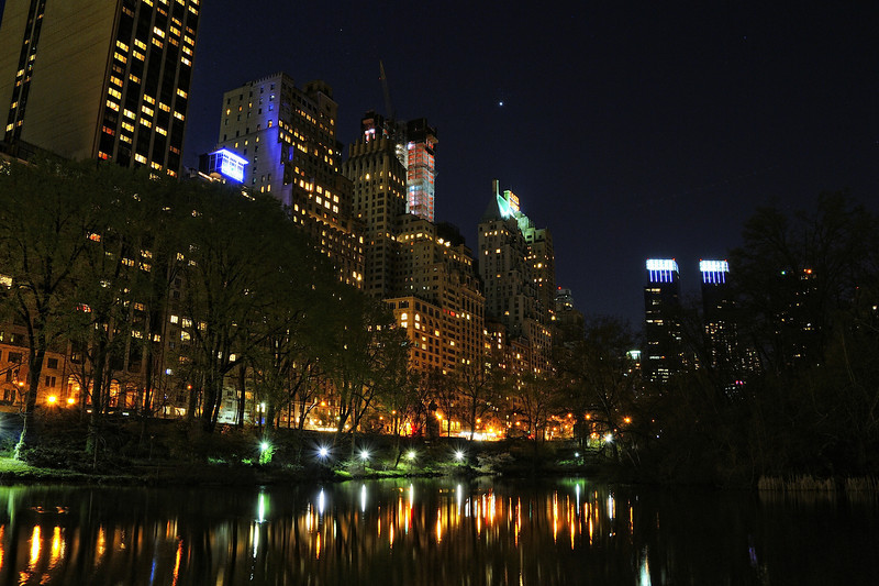 Central Park South at Night with Jupiter Above the Essex House