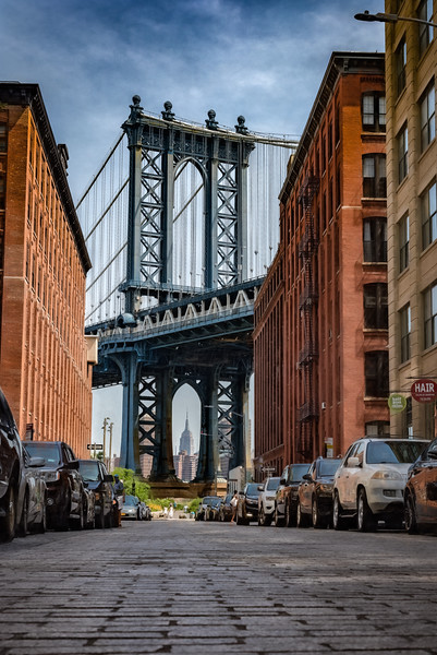 View of the Manhattan Bridge and the Empire State Building from Washington Street, Brooklyn