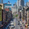 View of East Broadway in Chinatown from the Manhattan Bridge, New York City