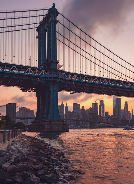 Manhattan Bridge Sunset w/ NYC skyline