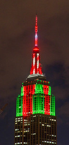 Empire State Building with Christmas lights
