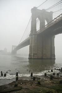 Brooklyn Bridge in fog II