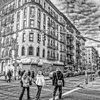 life on the street in NYC on a January Saturday, Bloome St. and Mulberry St.<br /> <br /> #newyorkcity,#nyc,#streetphotography,#urbanphotography,#citylife,#urbanscape,#blackandwhitephotography,#wintersky,#clouds,