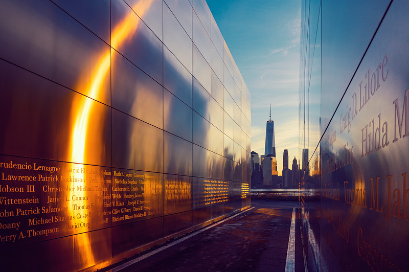 9/11 Memorial w/ Freedom Tower Sunrise